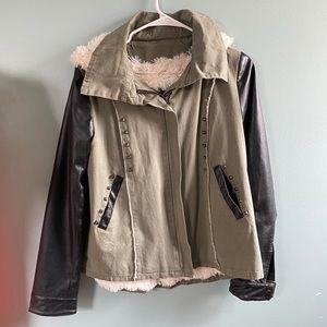 MISS ME Studded Fur Lined Moto Jacket SZ SM